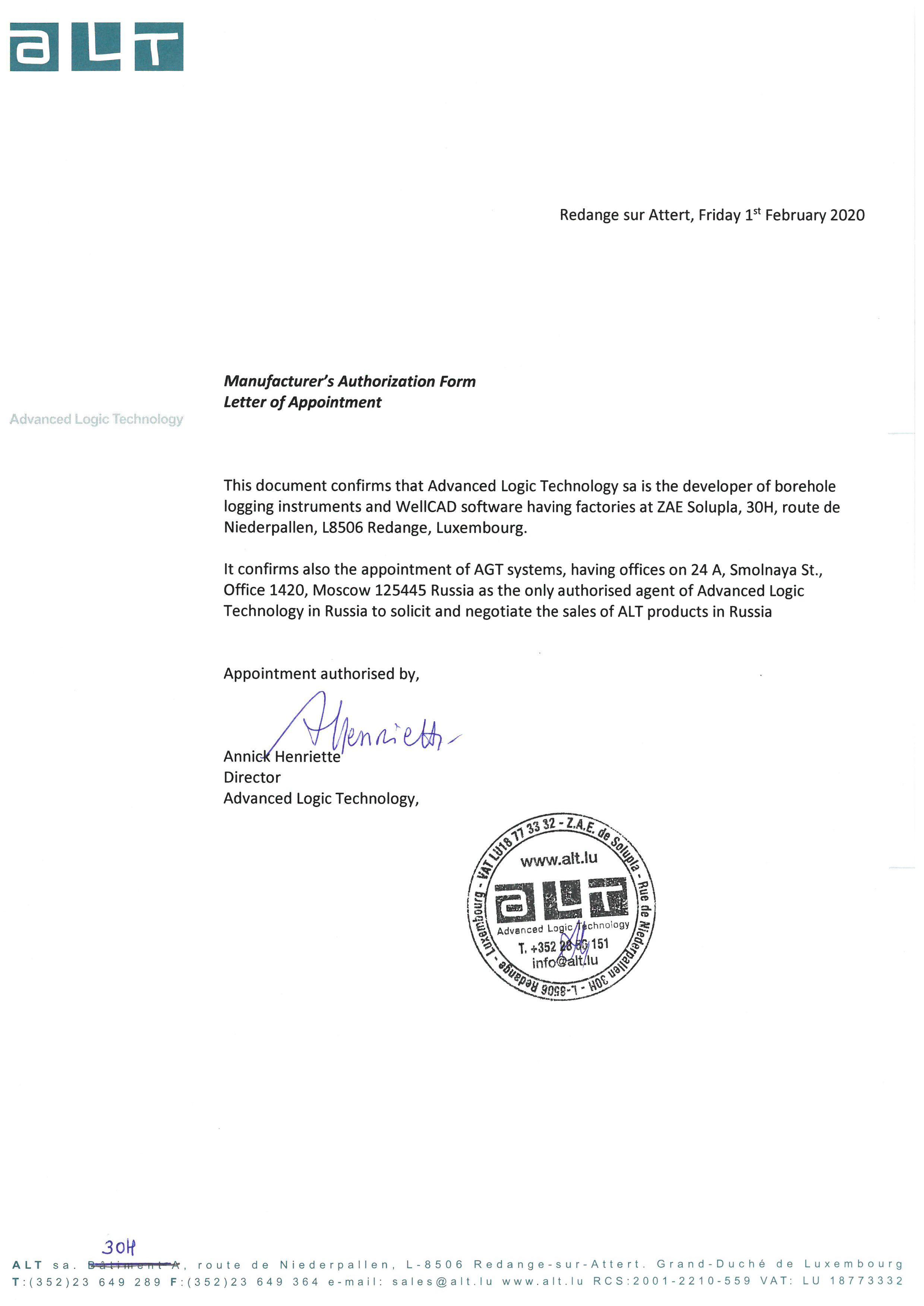 Letter of Authorization with ALT